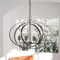 Equally ideal illuminating the entryway or casting a warm and relaxing glow over your dining room table, this posh chandelier is sure to shine in any space. Crafted from steel, its frame offers an openwork globe design finished in oil rubbed bronze. Inside, you'll find a quartet of exposed bulbs for a look that's truly of today. Assembly and installation are both required for this product.