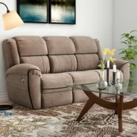 Curl up with a gripping book or in anticipation of a good movie in this double motion reclining sofa. Its seat is filled with foam and Beauty rest® pocketed coils for enhanced durability, comfort, and a medium-firm sitting experience. Upholstered in a brown-hued micro suede, it features a split back cushion, fully padded chaise, pillow top arms, and a subtle contrast welt. Its power recliner push buttons are located on both sides of the sofa. Plus, it's made in the USA!