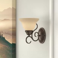 Looking for ways to add lighting to a room? If you can't sacrifice square footage, a wall sconce is a great option for (literally) brightening bare walls with a pop of decor and illumination. Take this one, for example: perfect for a touch of Old World romance, this piece is crafted from a bronze-finished metal backplate with a scrollwork arm. A champagne glass bell shade caps this piece off with a warm-hued touch, and helps diffuse the 60 W bulb (not included).