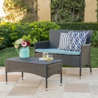 This compact, two-piece sofa set makes a great addition to any patio. Crafted from an iron frame and wrapped in black resin wicker, this weather-resistant set is ideal for an outdoor setting. The slight curve of the loveseat's arms adds the perfect amount of flair, lending a stylish and comfortable vibe to the patio, while the matching table is perfect for placing a tray of tasty treats or tropical drinks.