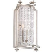 "This fixture features luxury materials and details reminiscent of Hollywood's ""Golden Era."" A silver ridge finish and clear crystal strands cascade in a waterfall effect to convey the glitz and glamour of an iconic time that is making a modern comeback."