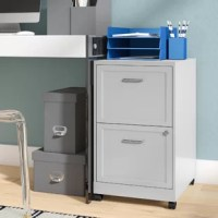 If your desk is overrun with papers, memos, and letters, give them a perfect home with a filing cabinet like this. Perfect for housing your documents while staying mobile, this two-drawer cabinet is crafted from metal and features four rolling casters, so it can easily be moved into exactly the right spot for your office. And with two locking letter-style drawers with file bars, this piece is ready to house all of your important documents.