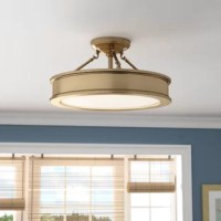 Sleek and simplistic, this three-light semi-flush mount brings a touch of understated style as it shines a light down on your space. Crafted from metal and suited for damp locations, this fixture strikes a round silhouette measuring 9.75
