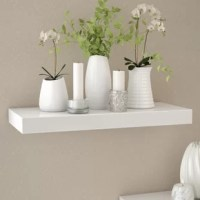 A streamlined, space-saving storage and display solution, this floating wall shelf can be topped with framed photos in the den or used to store toiletries and cosmetics in the powder room. Crafted of manufactured wood in a classic finish, this shelf strikes a clean-lined rectangular silhouette. This shelf arrives ready to hang right out of the box with wall-mounting hardware included.