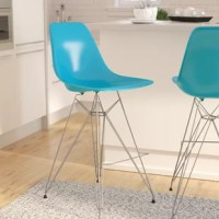 Lend your eat-in kitchen a boost of modern style with this contemporary inspired bar stool. Crafted with a chromed stainless steel frame, this stationary piece features a streamlined seat that is made from polypropylene, a synthetic plastic that is easy to clean and maintain. Its Eiffel-style base gives it a distinctive midcentury look, while its convenient footrest invites you to kick your feet up and get comfortable. Measuring 44'' H x 19'' W x 25'' D overall, this piece makes a great...