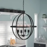 Set a spotlight on any space with this eye-catching globe chandelier, the perfect pick for any ensemble. Featuring an armillary-inspired design with four 40-watt bulbs (included), this metal chandelier brings a retro touch to your aesthetic, while its deep black finish makes it easy for you to fit with any color palette. Station it in the entryway to welcome guests in style, or let it hang over the dining table to tie your entertainment space together.