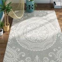 Lay an Eastern-inspired foundation for your free-spirited space—inside or outdoors—With this charming area rug, showcasing an oriental medallion motif in soothing hues of gray and white. This area rug is machine-woven of stain and fade-resistant in a flat.2