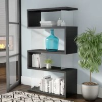 A storage solution with style, this bookcase can't wait to round out your modern master suite or contemporary living room look its frame pairs a zigzagging wood design with clear glass panels for an aesthetic that's total of today. Four interior shelves are ready to take on your collection of reads or simply act as a spot to stage decor.