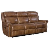 Bring warmth and relaxation to your home with this caramel-colored leather Esme Power Recliner Sofa. Simple styling allows Esme to fit in any décor, with a touch of class through the traditional roll arms with antique brass nail trim and a padded wing-back design. The power headrest, neck-roll back and power recliners on each end bring exceptional comfort. The leather protects against spills and is soft and subtle to the hand with a rich two-tone look.