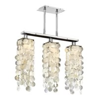 The coastal influenced chandelier with a polished chrome linear dual mount frame blends easily with a nautical decor. Ideal for dining rooms, kitchen islands and family rooms.