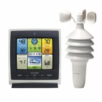 The illuminated color LCD screen includes indoor/outdoor temperature, humidity and wind speed with daily/monthly/all-time high and low information, heat index, wind chill, dew point, multi-variable history chart, clock, and calendar. Display stands upright for tabletop use or is wall-mountable. The wireless outdoor sensor features 3 different technologies in one easy-to-mount unit: thermometer, hygrometer, wind speed anemometer. One-year limited warranty. Illuminated color display with...