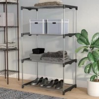 Get organized in the garage, tidy entryway essentials, or expand your kitchen storage capabilities with this must-have shelving unit. Its frame is constructed from extra strong wire and heavy-duty resin. Neutral finishes of silver and gray make it work in any area of your abode, no matter the aesthetic. Plus, four tiers of slatted shelves are perfect for stacking everything from shoes to sports gear.