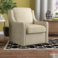 A contemporary update on a traditional design, this transitional armchair is an excellent addition to any living room seating ensemble. Founded on a solid and manufactured wood frame, this charming chair strikes a compact silhouette with a full back, sloping square arms, and a metal swivel mechanism base. Soft polyester upholstery envelops the whole chair, while high-density foam fill provides a comfortable seat.