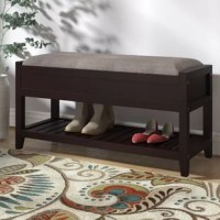 """Crafted from manufactured wood and solid wood, this 35.43"""" storage bench is a wallet-friendly approach to hall or entryway organization. Have a seat on its polyester-upholstered top while you slip off your shoes, then stow them away underneath on the slatted shelf to keep busy areas clutter-free. A flip-top reveals additional storage, perfect for tucking away picnic blankets, pet leashes, and more. This bench works just as well centered at the foot of your bed to help free up closet space."""