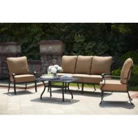 If you are looking for some privacy look no more. This four-piece set gives you plenty of room yet adds a sense of intimacy. The two club chairs and sofa have thick seat and back cushions. The cast aluminum coffee table is the perfect size for your snacks and beverages.