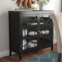 Don't sacrifice style on your search for storage space! Organize an aesthetically-pleasing fashion with this eye-catching accent cabinet, perfect for tucking away dinnerware in the dining room or putting curios out for all to see by the front door. Founded atop four square feet, its frame is clean-lined and measures. Three interior shelves are ideal for display, highlighted by two glass doors with a geometric overlay.