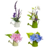 Bring nature inside with these lifelike Mini 4-Piece Mixed Floral Arrangement in Garden Watering Can Set. The set includes 4 pieces mini florals come in small green or white garden watering cans.