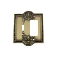 Embracing greek revival, Meadows 2-Gang Toggle Light Switch / Rocker Combination Wall Plate is appealing to a wide variety of home decor styles. The graceful, curved edges and decorative border make a bold statement.