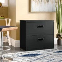 Keep all your files organizes and safely tucked away with this must-have filling cabinet. Perfect for your home study space or office, it features a simple, clean-lined frame crafted from steel. The two lateral letter drawers with action ball-bearing suspension for smooth movement. Both drawers can be locked and each has an 82-pound weight capacity.