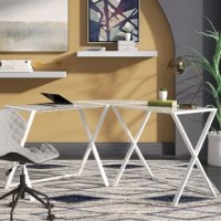 Settle into a good day's work in your home office with a desk like this! Crafted from powder-coated steel, this corner piece features a sleek design crafted from two rectangular desks set on X-frame trestle bases connected by a curved corner wedge. The generously proportioned desktop gives you plenty of space to tackle your to-do list and crafted from clear glass with a beveled edge. This desk is a great option for making the most of a corner in your home.