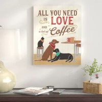 This canvas 'All You Need is Love And Coffee Cats Dogs' Graphic Art Print is created with only the highest standards. They print with high-quality inks, canvas and then hand cut and stretched. The art comes ready to hang with no installation required.
