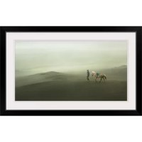 Going Home Again by Sebastian Kisworo, print wall art. A person leading his horse across the desert sands.