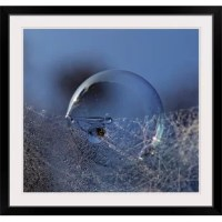 Blue Bubble Morning by Kent Mathiesen, print wall art. A large soap bubble sits under a web of small dew drops.