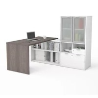 This L-Shape Desk with Hutch has been created to adapt to your living space with the flexibility of its configuration possibilities. Its sleek design is intelligent, inspiring, and Innovative.