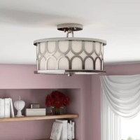 Illuminate your dining room, master suite, or grand foyer in chic, sophisticated style with this stunning two-light semi flush mount. Crafted of metal in a polished nickel finish, the shade strikes a 9