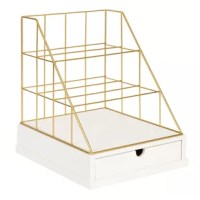 Organize your paper and desk accessories out of a pile and into a clean space with this Metal and Wood File Organizer. This desktop letter tray has three tiered shelves and one drawer that fits standard paper. Bring organization and a modern decorative accent to your home with this charming wire letter tray.