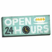 This fun, colorful 'Adorable Gray, Teal and Yellow Open 24 Hours' Textual Art on Canvas makes a great addition to any home. Print on satin canvas and stretched onto a solid frame.