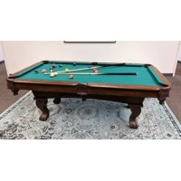 Style and elegance meet affordability with the AirZone Play 7' Billiard Table! This full-size table is a handsome addition to any room. This 7' Billiard Table comes with a full set of billiard balls, two billiard cues, a pair of cue chalks, a racking triangle, and a brush to keep the vibrant green felt clean during play. This table assembles in about 45 minutes, and the sturdy solid wood legs ensure a level and steady surface to perfect your billiard shots… It's time to Play as you mean...