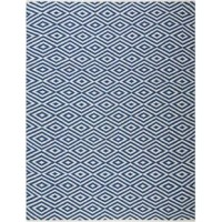 Lend a pop of pattern to your living room look or switch up your style in the master suite with this eye-catching area rug. Made in India, it is hand-woven from 100% polyester with a casual and classic 0.5'' pile height. This piece is sure to make a splash, showcasing a geometric motif in hues of navy and white. To keep this piece safely in place, we recommend using it with a rug pad.