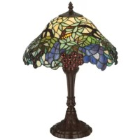 Experience the majesty of the vineyard captured in stained art glass and jewels when you own this spiral grape accent lamp by Meyda lighting. The shade design incorporates concord purple jewels, vineyard green leaves and bark brown vines into its nouveau appeal. The resplendent shade is complemented by a sturdy base hand finished in a handsome mahogany bronze.