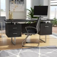 Whether tackling taxes or working on your next big novel, this writing desk is here to help. Crafted from metal and manufactured wood, this piece boasts an open geometric design, working well in any contemporary setting. One cabinet and two drawers on metal glides offer plenty of space to tuck away paperwork, pens, pencils, and more, while the floating desktop strikes a roomy rectangular silhouette that's ideal for bigger projects.