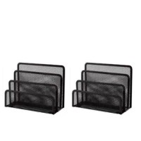 This tray sorter has 3 sections to help keep your desktop organized and clutter-free. Desk accessories have a simple and elegant industrial look and sturdy metal construction. Plus, see-through mesh saves you valuable time when retrieving documents and office essentials. Three slots allow you to store an assortment of items you'll need to easily access in the near future.