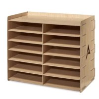 This 12-Compartment Paper Sorter is the ideal solution to help you keep your printer paper, printed documents, manuals, workbooks, correspondence and other often used or referred to materials close at hand for immediate retrieval. Use the ridge rimmed top to hold your stapler, pencil cup, and other small accessories within arm's reach. These sturdy 12-compartment paper sorters are constructed of MDF for long life and are available in black, white, blue, and wood grained finishes.