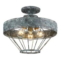 This collection is a casual, vintage-inspired design that was created for eclectic or farmhouse decors. The unique metalwork features a scallop detail and a multi-layered, hand-painted finish. This finish is applied with a white and gold accent to create a chic, but weathered look. This semi-flush creates a generous open area for widespread ambient-lighting.