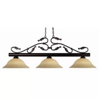 Fine filigree detailing defines this three light fixture. Finished in bronze, this fixture uses warm glowing gold mottle glass shades to create a traditional look. This fixture includes 72'' of chain on both sides to ensure a perfect hanging height.