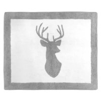 Grey and White Woodland Deer Floor Rugs will help complete the look of your Sweet Jojo Designs room. Made with 100% cotton yarn, these hand tufted, super soft rugs will feel as good as they look! These rugs have a non-skid backing so they can easily be used in the bedroom, bathroom, or any room in your home. Dimensions: 30 in. x 36 in. Fabric: 100% Cotton Yarn. Spot clean as needed.