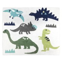 Blue and Green Mod Dinosaur Floor Rugs will help complete the look of your Sweet Jojo Designs room. Made with 100% cotton yarn, these hand-tufted, super soft rugs will feel as good as they look! These rugs have a non-skid backing so they can easily be used in the bedroom, bathroom, or any room in your home. Dimensions: 30 in. x 36 in. Fabric: 100% Cotton Yarn. Spot clean as needed.