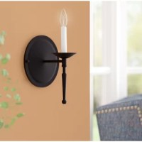 Made to mimic the look of a glowing candle, this wall light brings a dash of classic character as it lends a light. Crafted from stainless steel, this fixture features a round backplate and a single 60 W candelabra-base bulb (not included) atop a slender holder with turned accents for a traditional touch. It strikes a petite silhouette that allows it to fit in narrow openings on your walls, and as a bonus, it comes backed by a one-year warranty.