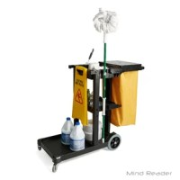 Keep all of the cleaning products you need when cleaning whether you're a janitor in a school or at home. This all in one cart allows you to hold all of the housekeeping products needed to clean. It's utility use and mobility makes it convenient for those that clean often, or as a career.