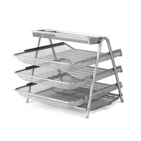Papers, files, post its, catalogs, pens, paper clip. The mess is over, the Metal Mesh 3 Tier File Organizer will help whip your desk into shape. With 4 trays and one accessory tray, your options are endless. Utilizing vertical storage the unit will take up minimal desk space while maximizing your storage needs. This organizer will be the envy of your entire office.