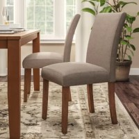 Give your kitchen, dining room, or living room a quick makeover with the set of 2 Satchell Linen Upholstered Parsons Chairs. This traditional set of chairs easily complements and enhances any kitchen, dining or living room décor. Designed with a sturdy construction that guarantees long-lasting support and durability, these linen chairs' seat back, seat front, and chair seat are fully upholstered in a beautiful taupe color that will blend in rooms of any style. These Satchell Parsons Chairs...