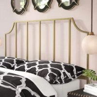Anchor your bedroom in a glamorous style with this golden queen-sized panel headboard! Crafted of metal in a rich, satin gold finish, this dapper design strikes an open, crown-arched rectangular silhouette. The main section of the headboard features five slender slats for a visually-appealing look, while built-in brackets on each straight, sturdy leg are designed to accommodate standard metal bedframes to round out the design.