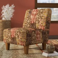 Round out your seating arrangement with a pop of pattern when you pull up this stylish chair. A classic design with global influences, it showcases a slipper design with a rounded back and four tapered wood feet. The seat is wrapped in polyester blend upholstery with a botanical patchwork pattern. This chair is crafted with a solid and manufactured Wood frame, and it can support a 350-weight capacity.