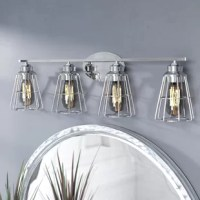 Our 4-light bath vanity wall fixture fuses countless styles.  A horizontal rod holds each metal wire cage shade, allowing light to emerge from Edison style bulbs (but not included). Use anywhere indoors.