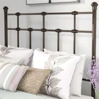 Bring a handsome, traditional style to your bedroom with this open-frame headboard! Crafted of carbon steel in a multi-step, hand-applied black walnut finish, this headboard strikes a rectangular silhouette. Accented by decorative ball finials, widely spaced metal bars run across the frame between two straight posts, while gentle distressing lends the piece a well-worn, antique aesthetic. Rounding out the design, the posts include pre-drilled holes to affix the headboard to most standard metal...