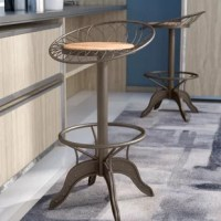 Perfect for pulling up to a pub table in the entertaining ensemble or when stationed around the kitchen island, bar stools are always a stylish seat. Take this one for example: Crafted from steel, it showcases four curved legs in a dark gray finish with rivet detailing, lending some industrial appeal to your arrangement. Surrounded by a low, round back that boasts a wire-like construction, the wooden seat features a full-swivel design and an adjustable height for your convenience.